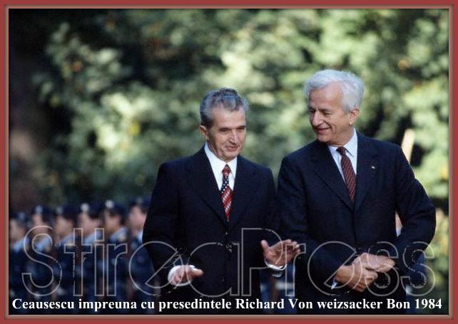 Ceausescu alaturi de presedintele Richard Von Weizscker  1984 Bonn